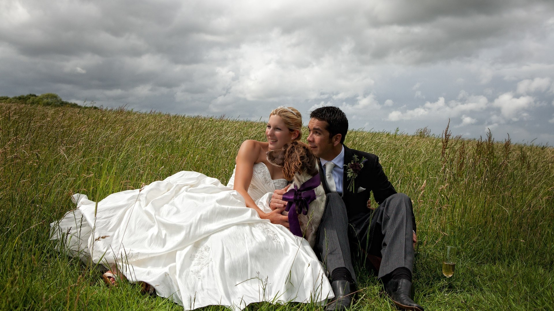 wedding couple sitting on the grass